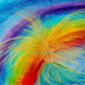 Angel with Rainbow, soft pastel by Eva Maria Hunt
