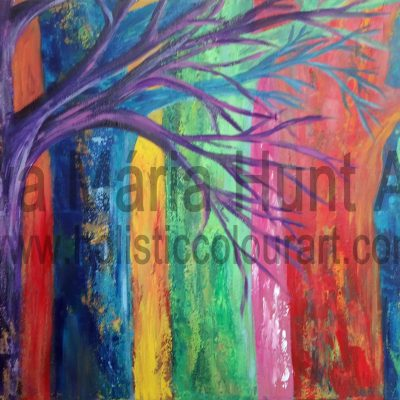 Rainbow Woods, Acrylics by Eva Maria Hunt