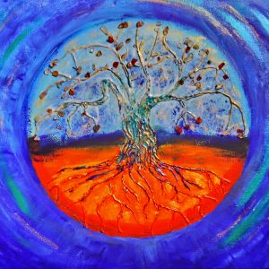 Carnelian Tree mixed media by Eva Maria Hunt
