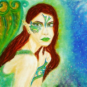 Green Fairy Caught, soft pastel & Digital Art by Eva Maria Hunt