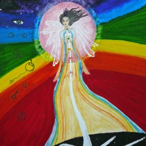 Journey through the chakras, Acrylics by Eva Maria Hunt