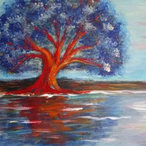 Tree in Orange and Blue by Eva Maria Hunt